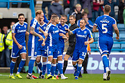 Gillingham FC midfielder Stuart O'Keefe (4) celebrates with team mates after scoring a goal (2-0) during the EFL Sky Bet League 1 match between Gillingham and Southend United at the MEMS Priestfield Stadium, Gillingham, England on 5 October 2019.