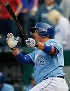 Kansas City Royals' Billy Butler celebrates watches is two-RBI double in the ninth inning of a baseball game to to tie the game against the Chicago White Sox at Kauffman Stadium in Kansas City, Mo., Sunday, May 5, 2013. The Royals defeated the White Sox, 6-5 in 10 innings.  (AP Photo/Colin E. Braley).