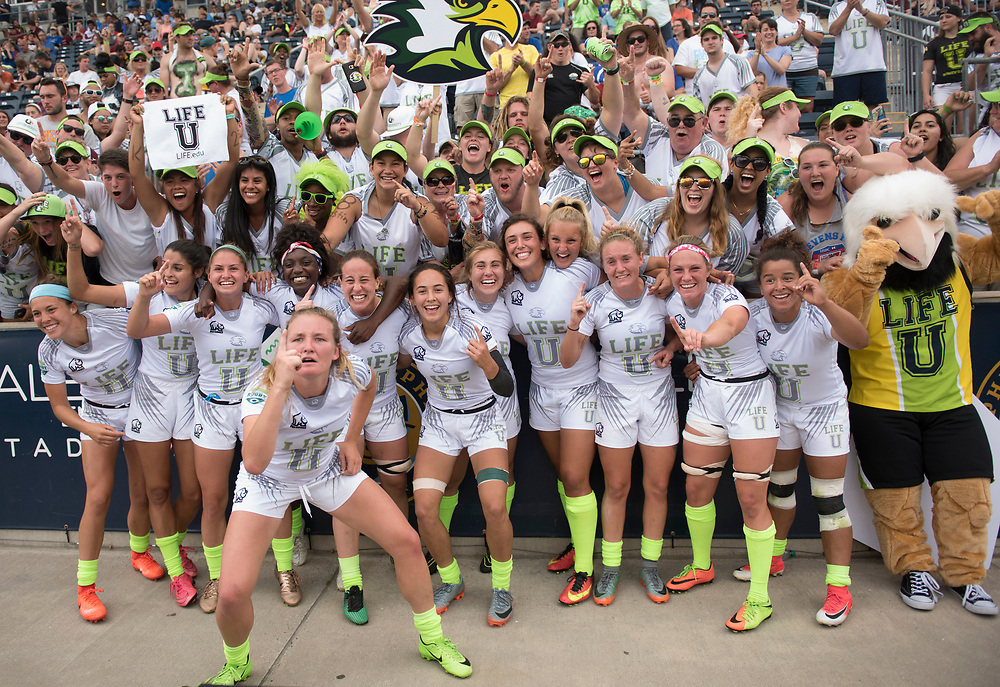 Life University win the Women's Penn Mutual CRC of the 2017 Penn Mutual Collegiate Rugby Championship at Talen Energy Stadium in Philadelphia. June 4, 2017. <br /> <br /> By Jack Megaw.<br /> <br /> www.jackmegaw.com<br /> <br /> jack@jackmegaw.com<br /> @jackmegawphoto<br /> [US] +1 610.764.3094<br /> [UK] +44 07481 764811