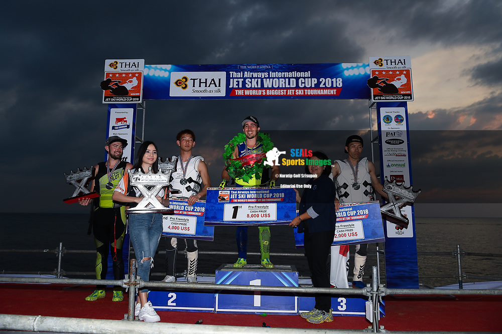 PATTAYA, THAILAND - DECEMBER 09: Top 4 riders on the podium: Mark Gomez of USA and Rickter, Taiji Yamamoto of Japan and Bun Freestyle, Kazuaki Sakaida of Japan and Bun Freestyle, and Tanner Thomas of USA and Rickter during the Royal Trophy presentation for the Pro Freestyle second run at the Thai Airways International Jet Ski World Cup 2018, Jomtien Beach, Pattaya, Thailand on December 09, 2018. <br /> .<br /> .<br /> .<br /> (Photo by: Naratip Golf Srisupab/SEALs Sports Images)<br /> .<br /> Any image use must include a mandatory credit line adjacent to the content which should read: Naratip Golf Srisupab/SEALs Sports Images