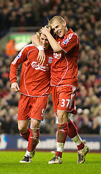 LIVERPOOL, ENGLAND - Wednesday, March 5, 2008: Liverpool's Fernando Torres celebrates scoring his, and Liverpool's second goal, with team-mate Martin Skrtel during the Premiership match against West Ham United at Anfield. (Photo by David Rawcliffe/Propaganda)