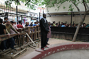 The Nigerian community is part of the Mary Pini's organization. A priest watching the line before the distribution of food.