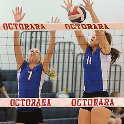 Photos by Tom Kelly IV<br /> East's Cassidy Kenny (11) and Alli Alicea (7) go up for the block during the Downingtown East vs Octorara volleyball game at Octorara on Wednesday October 16, 2013.
