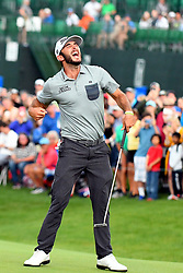 May 5, 2019 - Charlotte, NC, U.S. - CHARLOTTE, NC - MAY 05: Max Homa celebrates after sinking his final putt to win the Wells Fargo Championship on May 05, 2019 at Quail Hollow Club in Charlotte,NC. (Photo by Dannie Walls/Icon Sportswire) (Credit Image: © Dannie Walls/Icon SMI via ZUMA Press)