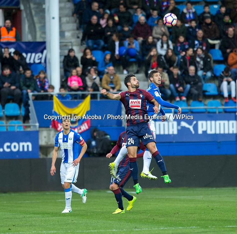 Match day of La Liga Santander 2016 - 2017 season between S.D Eibar - C.D Leganes, played Ipurua Stadium on Sunday, April 30th, 2017. Eibar, Spain. 24 Adrian, 21 R. Perez. Photo: ION ALCOBA | PHOTO MEDIA EXPRESS