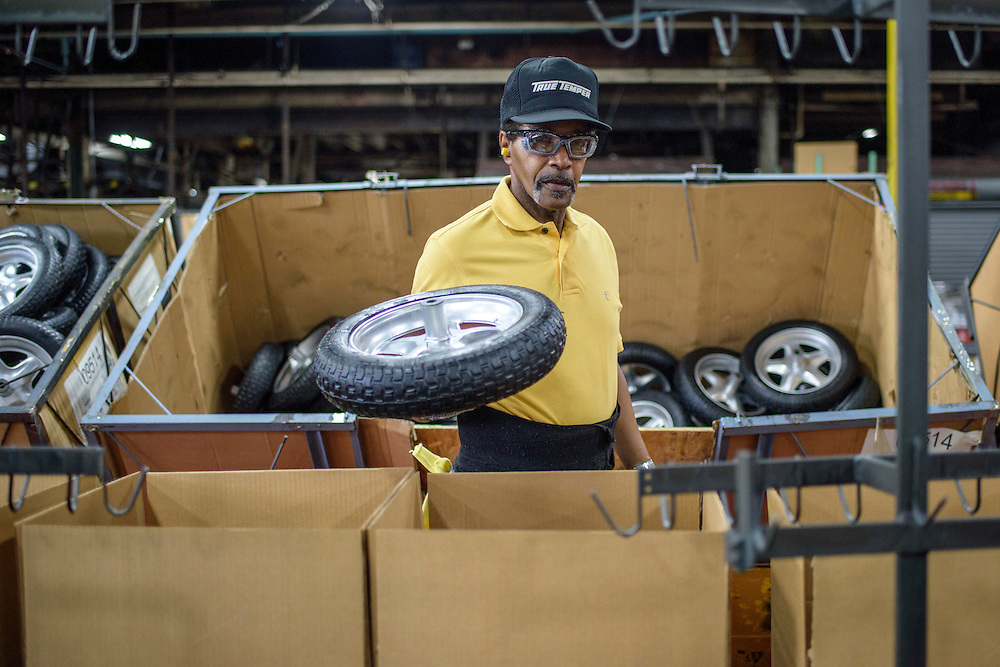 Harrisburg, Pennsylvania - January 19, 2015: Ronald Dunbar, 65, works as a manufacturing operator at the Ames wheelbarrow factory in Harrisburg, Pa. <br /> <br /> CREDIT: Matt Roth for The New York Times<br /> Assignment ID: 30169527A