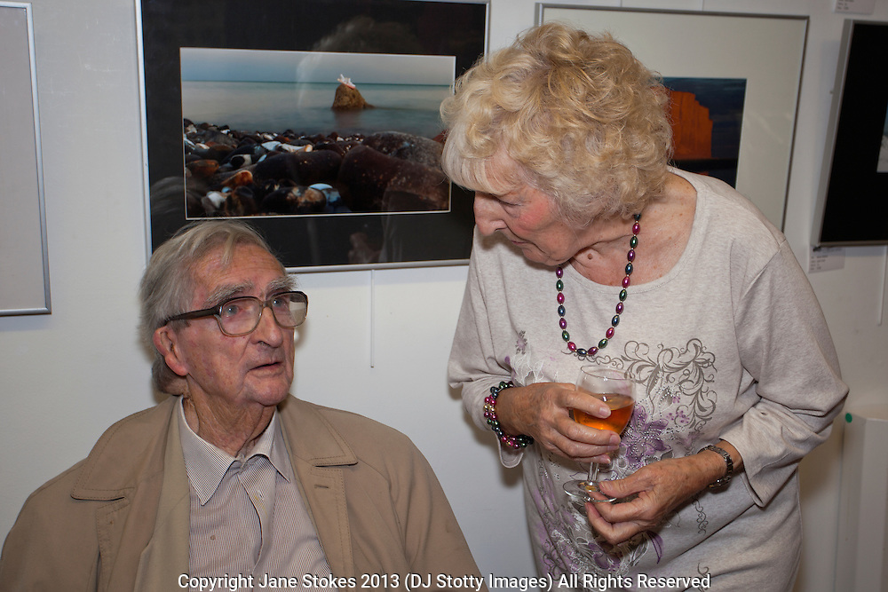 Denis Healey & Sylvia Carter<br /> <br /> Seaford Photographic Society 2013 Exhibition opening in the Crypt Gallery in Seaford East Sussex by the President;  The Right Honourable The Lord Denis Healey former Deputy Leader of the Labour Party. Free entry and open 1000-1700 from 21 September to 6 October 2013