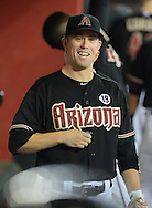 Jul 14, 2013; Phoenix, AZ, USA;  Arizona Diamondbacks infielder Aaron Hill (2) walks through the dugout in the game  against the Milwaukee Brewers at Chase Field. The Brewers defeated the Diamondbacks 5-1. Mandatory Credit: Jennifer Stewart-USA TODAY Sports