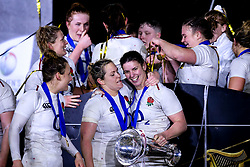 Marlie Packer and Sarah Hunter of England Women celebrate winning the Women's Six Nations and Grand Slam - Mandatory by-line: Robbie Stephenson/JMP - 16/03/2019 - RUGBY - Twickenham Stadium - London, England - England Women v Scotland Women - Women's Six Nations