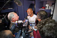 20 January 2013: Tight end (85) Vernon Davis of the San Francisco 49ers speaks to the media in the locker room after defeating the Atlanta Falcons 28-24 in the NFC Championship Game at the Georgia Dome in Atlanta, GA to go to Superbowl XLVII.