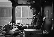 Maxine Duffat, South Yorkshire Passenger Transport's first black woman  bus driver. November 1983...© Martin Jenkinson, tel 0114 258 6808 mobile 07831 189363 email martin@pressphotos.co.uk. Copyright Designs & Patents Act 1988, moral rights asserted credit required. No part of this photo to be stored, reproduced, manipulated or transmitted to third parties by any means without prior written permission