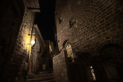 Night photography of the renovated old town of Jaffa, Israel now an artist colony and tourist attraction. Jaffa Israel