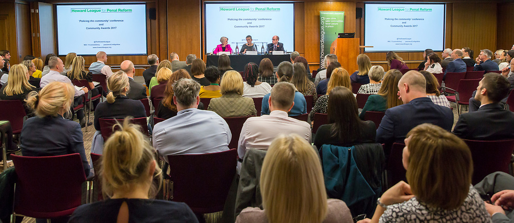 Sophie Linden Deputy Mayor, Policing & Community, Chief Constable Olivia Pinkney QPM, MA Hampshire Constabulary and Andre Nielson, Director of Campaigns, Howard League for Penal Reform.  The Howard League for Penal Reform 'Policing the community' conference and Community Awards 2017. The King's Fund, London, 8 November 2017
