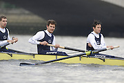 Putney, GREAT BRITAIN,    left 6. Ben HARRISON, 7. Sjoerd HAMBURGER, Stroke Colin SMITH,  during the 2008 Varsity/Oxford University [OUBC] Trial Eights, raced over the championship course. Putney to Mortlake, on the River Thames. Thurs. 11.08.2008 [Mandatory Credit, Peter Spurrier/Intersport-images] Varsity Boat Race, Rowing Course: River Thames, Championship course, Putney to Mortlake 4.25 Miles,