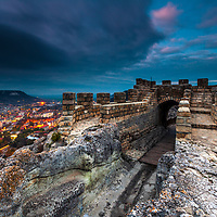 Ovech Fortress, near town of Provaduya, at night