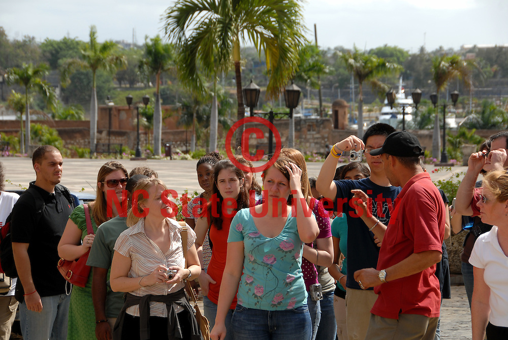 Students listen to their guide during a tour of Santo Domingo.
