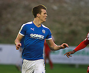 Dover defender Sean Raggett during the FA Trophy match between Whitehawk FC and Dover Athletic at the Enclosed Ground, Whitehawk, United Kingdom on 12 December 2015. Photo by Bennett Dean.
