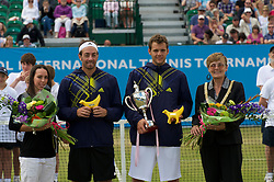 LIVERPOOL, ENGLAND - Saturday, June 19, 2010: Men's Champion Paul-Henri Mathieu (FRA) with Nicolas Massu (CHI) and Gymnast Beth Tweddle and Lord Mayor of Liverpool Councillor Hazel Williams after the Men's Singles Final on day four of the Liverpool International Tennis Tournament at Calderstones Park. (Pic by David Rawcliffe/Propaganda)