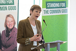 © Licensed to London News Pictures. 14/04/2015. London, UK. Caroline Lucas speaking at the Green Party manifesto launch, 'For the Common Good' at the Arcola Theatre in Dalston, east London today. Photo credit : Vickie Flores/LNP