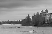"Hammersmith. London. United Kingdom,  Competitors pass by  ""Harrods Village"". William Hunt Mansions. 2018 Men's Head of the River Race.  location Barnes Bridge, Championship Course, Putney to Mortlake. River Thames, <br /> <br /> Sunday   11/03/2018<br /> <br /> [Mandatory Credit:Peter SPURRIER Intersport Images]<br /> <br /> Leica Camera AG  M9 Digital Camera  1/750 sec. 50 mm f.9.5 160 ISO.  5.5MB"