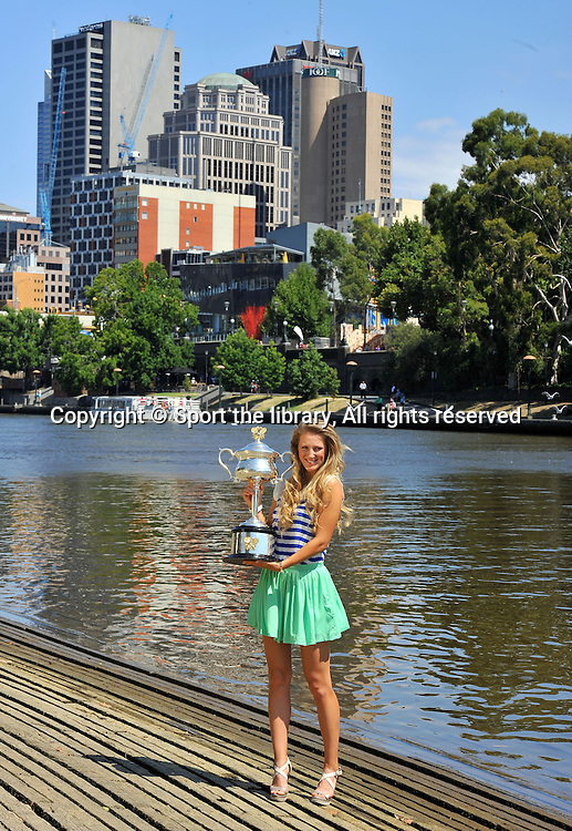 Victoria Azarenka (BLR) with the Women's singles<br /> Trophy at Yarra River Boatsheds<br /> 2012 Australian Open Women's Singles Champion<br /> 2012 Australian Open Tennis<br /> Melbourne, Victoria<br /> Sunday January 29th 2012<br /> &copy; Sport the library / Jeff  Crow
