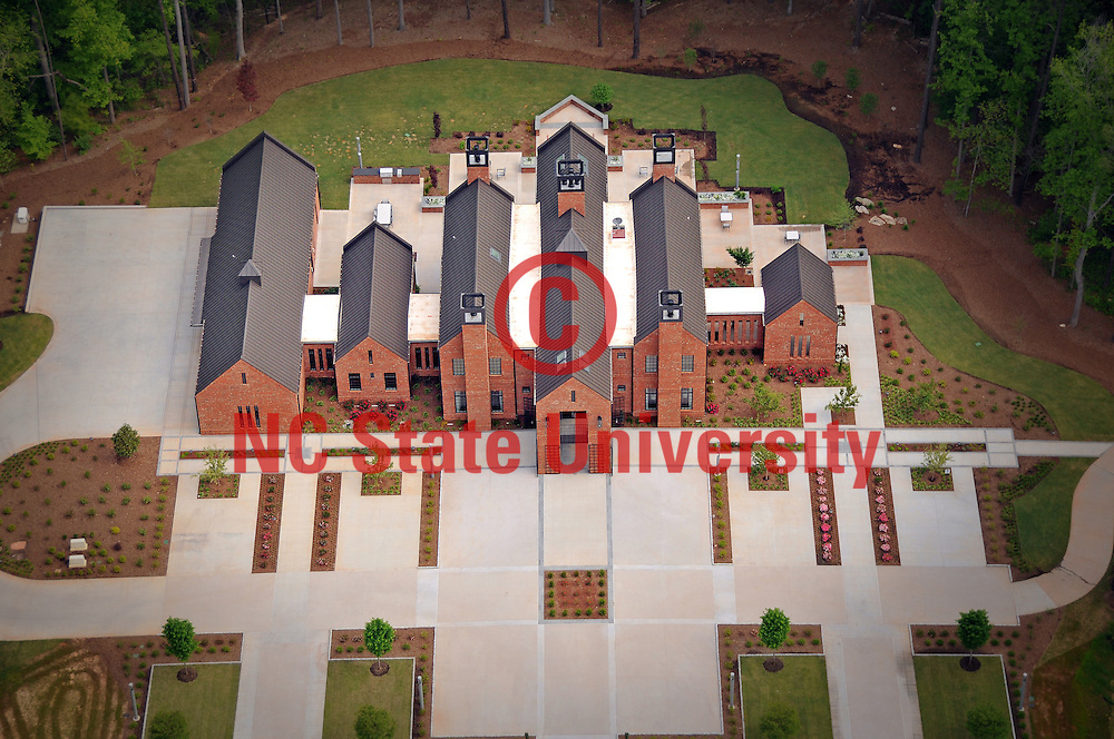Aerial view of the chancellor's residence, The Point, on Centennial Campus.