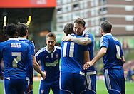 Daryl Murphy (9) of Ipswich Town celebrates after scoring the opening goal with Jonathan Douglas of Ipswich Town  (right)   during the Sky Bet Championship match at The Valley, London<br /> Picture by Alan Stanford/Focus Images Ltd +44 7915 056117<br /> 28/11/2015