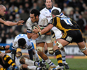 Wycombe, GREAT BRITAIN,  Baths Jonathan FAAMATUAINU, attacking, during the Guinness Premiership game London Wasps v Bath Rugby, at Adams Park, Bucks  29/12/2007 [Mandatory Credit Peter Spurrier/Intersport Images]
