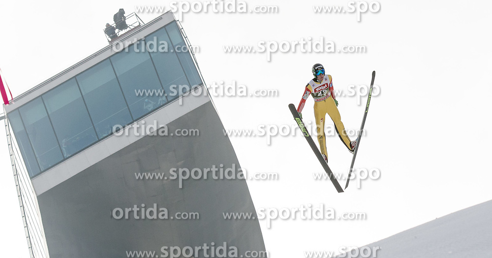 03.01.2015, Bergisel Schanze, Innsbruck, AUT, FIS Ski Sprung Weltcup, 63. Vierschanzentournee, Innsbruck, Training, im Bild Nejc Dezman (SLO) // Nejc Dezman of Slovenia soars through the air during a training session for the 63rd Four Hills Tournament of FIS Ski Jumping World Cup at the Bergisel Schanze in Innsbruck, Austria on 2015/01/03. EXPA Pictures © 2015, PhotoCredit: EXPA/ Jakob Gruber