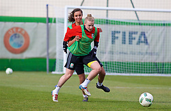 ZENICA, BOSNIA AND HERZEGOVINA - Monday, November 27, 2017: Wales' Kylie Nolan and Amina Vine during a training session ahead of the FIFA Women's World Cup 2019 Qualifying Round Group 1 match against Bosnia and Herzegovina at the FF BH Football Training Centre. (Pic by David Rawcliffe/Propaganda)