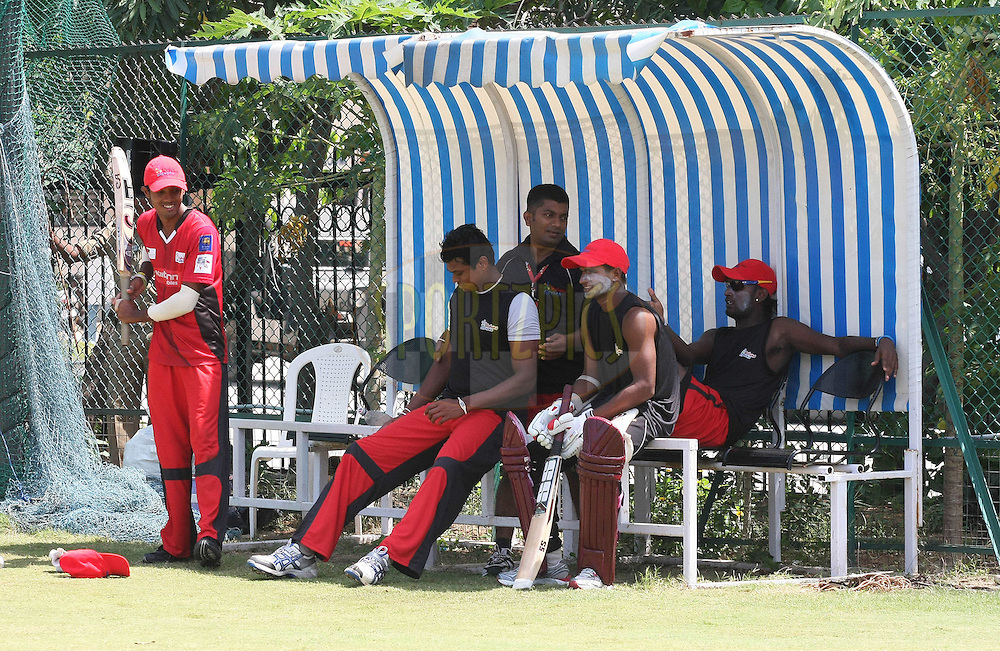 Ruhunu Eleven players take a break during Ruhunu Eleven's training session held at the Rajiv Gandhi Cricket Stadium in Hyderabad, Andhra Pradesh, India on the 17 September 2011...Photo by Shaun Roy/BCCI/SPORTZPICS