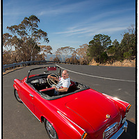 Jozef Šlarko with his Skoda Felicia Super convertible. Pictured in Arthur's Seat Motor Museum. Pic by Shannon Morris