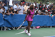 Serena Williams plays at the Nike Youth Tennis  Challenge held at The Nike -Built regulation Tennis Court  on West 23rd Street & Broadway in New York  City . ..Hundreds of tennis fans and youth form New York  Parks and Rec. Athlethes for Charity, and Mentoring USA are treating to tips and guidance from Tennis Pros Roger Federer, Rafael Nadal and Serena Williams...