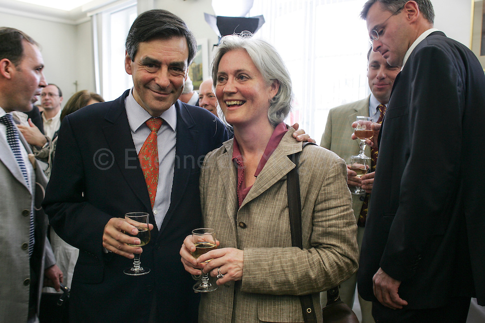 19 May 2007. In his constituency in the Sarthe departement, French newly appointed PM Francois Fillon launches the UMP campaign for the upcoming French parliamentary elections. Attending a reception at Sablé sur Sarthe city hall with his wife Penelope. Marc Joulaud (R).