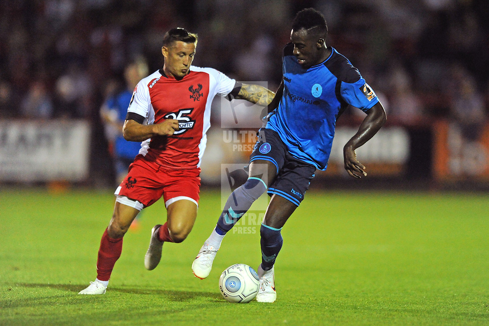 TELFORD COPYRIGHT MIKE SHERIDAN 7/8/2018 - Lee Vaughan and Amari Morgan-Smith of AFC Telford during the National League North fixture between Kidderminster Harriers FC vs AFC Telford United.