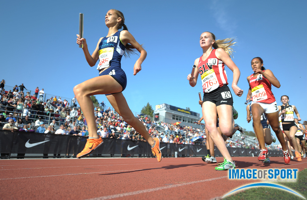 Apr 6, 2012; Arcadia, CA, USA; Sydney Badger of Centennial and Claire McMillan of San Lorenzo Valley run the first leg on the girls 4 x 800m relay in the Arcadia Invitational at Arcadia High.