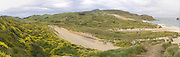 Panoramic, high-angle view of Sandfly Beach and Bay, on the Otago Peninsula, near Dunedin, Otago, New Zealand