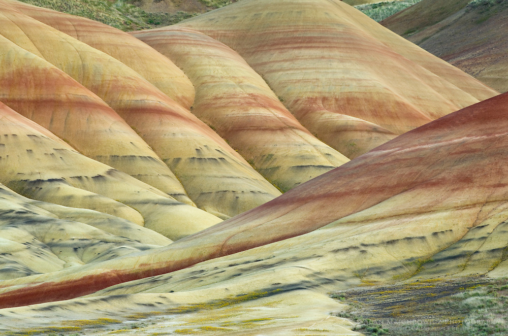 Colorful layers and streaks of minerals,  Painted Hill Unit of John Day Fossil Beds National Monument Oregon