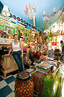 Cumberland's list of characters would not be complete without a visit to Jean Cameron's hair salon, whereby an eclectic mix of historical and quirky items adorns the interior of the salon.  Cumberland, Vancouver Island, British Columbia, Canada.
