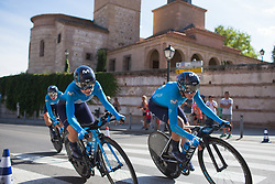 Movistar Women's Team riders lean into the final corner on Stage 1 of the Madrid Challenge - a 12.6 km team time trial, starting and finishing in Boadille del Monte on September 15, 2018, in Madrid, Spain. (Photo by Balint Hamvas/Velofocus.com)