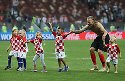 MOSCOW, July 11, 2018  Children of Croatia's players play on the pitch after the 2018 FIFA World Cup semi-final match between England and Croatia in Moscow, Russia, July 11, 2018. Croatia won 2-1 and advanced to the final. (Credit Image: © Cao Can/Xinhua via ZUMA Wire)