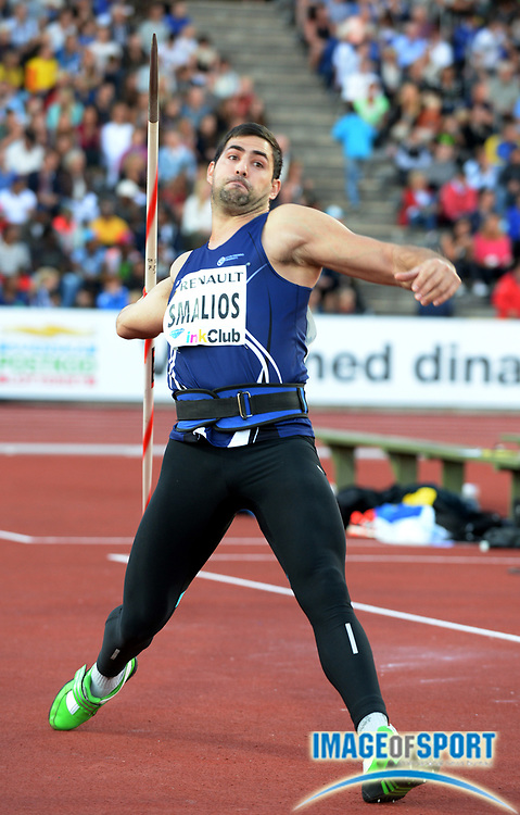 Aug 22, 2013; Stockholm, SWEDEN; Jiannis Smalios (SWE) places fifth in the javelin at 241-10 (73.73m) in the DN Galan 2013 at Stockholm Stadium. Photo by Jiro Mochizuki.
