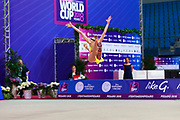 Salos Anastasiia during final at hoop in Pesaro World Cup at Adriatic Arena on April 15, 2018. Anastasiia born on February 18 ,2002 in Barnaul. She is a rhythmic gymnast member of the Belarusian National Team.