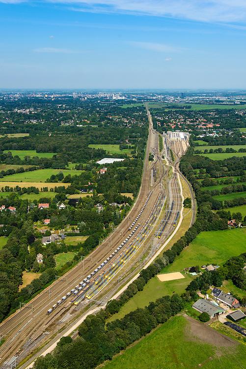 Nederland, Groningen, Gemeente Haren, 27-08-2013; Rangeerterrein Onnen, met werkplaats van NedTrain.<br /> Railway yard in Groningen.<br /> aerial photo (additional fee required);<br /> copyright foto/photo Siebe Swart.