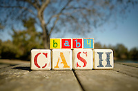 3 September 2010:  baby blocks spelling out baby Cash on wood.