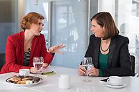 15 OCT 2019, BERLIN/GERMANY:<br /> Katja Kipping (L), Die Linke, Prteivorsitzende, und Katrin Goering-Eckardt (R), B90/Gruene, Fraktionsvorsitzende, wahrend einem Doppeninterview, Hauptstadtredaktion Rheinsche Post<br /> IMAGE: 20191015-01-011<br /> KEYWORDS: Göring-Eckardt