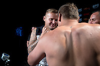 JOHANNESBURG, SOUTH AFRICA - MAY 12: (L-R) Wilhelm Strauss face off Wessel Mostert during EFC 49 weigh-in at the Big Top Arena, Carnival City, Johannesburg, South Africa on May 12, 2016. (Photo by Anton Geyser/ EFC Worldwide)