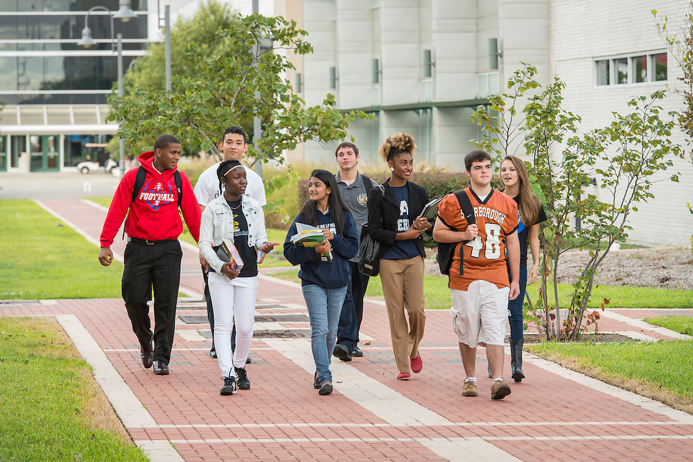 Futures Academy students pose for a photograph at Houston Community College Northeast, October 9, 2014.
