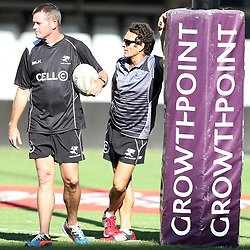 DURBAN, SOUTH AFRICA - MARCH 28: Sean Everitt (Assistant Coach) of the Cell C Sharks with Paul Anthony (Assistant Coach) of the Cell C Sharks during the Cell C Sharks captains run at Growthpoint Kings Park on March 28, 2014 in Durban, South Africa. (Photo by Steve Haag/Gallo Images)