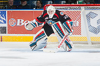 KELOWNA, CANADA - DECEMBER 3: Jake Morrissey #31 of Kelowna Rockets defends the net against the Saskatoon Blades on December 3, 2014 at Prospera Place in Kelowna, British Columbia, Canada.  (Photo by Marissa Baecker/Shoot the Breeze)  *** Local Caption *** Jake Morrissey;